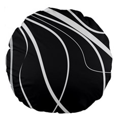 Black and white elegant design Large 18  Premium Round Cushions