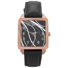 Black and white elegant design Rose Gold Leather Watch
