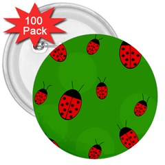 Ladybugs 3  Buttons (100 pack)