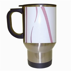 Pink elegant lines Travel Mugs (White)