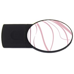Pink elegant lines USB Flash Drive Oval (4 GB)