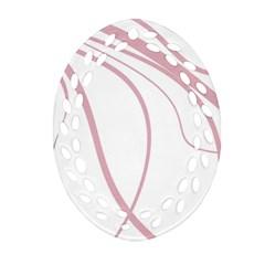 Pink elegant lines Oval Filigree Ornament (2-Side)