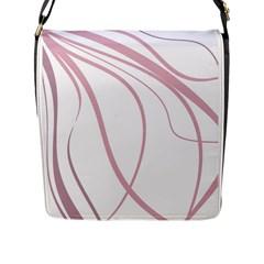 Pink elegant lines Flap Messenger Bag (L)