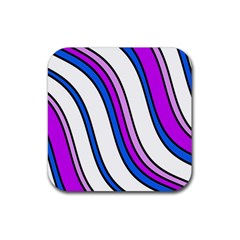 Purple Lines Rubber Square Coaster (4 pack)