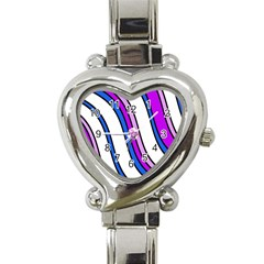 Purple Lines Heart Italian Charm Watch
