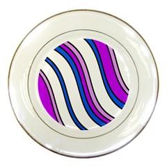 Purple Lines Porcelain Plates
