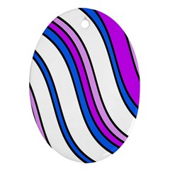 Purple Lines Oval Ornament (Two Sides)