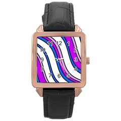 Purple Lines Rose Gold Leather Watch