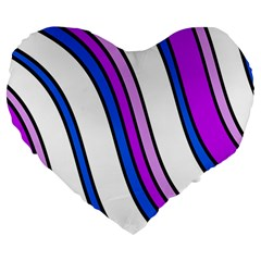 Purple Lines Large 19  Premium Flano Heart Shape Cushions