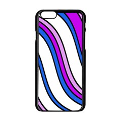 Purple Lines Apple iPhone 6/6S Black Enamel Case
