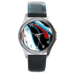 Blue, Red, Black And White Design Round Metal Watch
