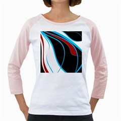 Blue, Red, Black And White Design Girly Raglans