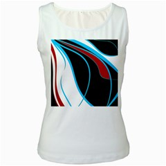 Blue, Red, Black And White Design Women s White Tank Top