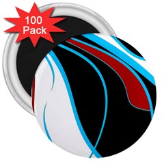 Blue, Red, Black And White Design 3  Magnets (100 pack)