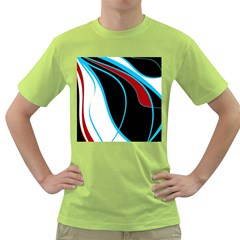 Blue, Red, Black And White Design Green T-Shirt