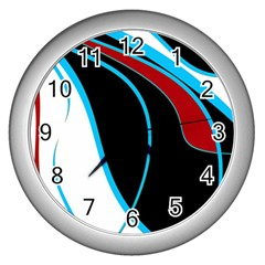 Blue, Red, Black And White Design Wall Clocks (Silver)