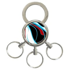 Blue, Red, Black And White Design 3-Ring Key Chains