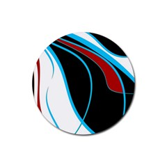 Blue, Red, Black And White Design Rubber Coaster (Round)