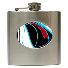 Blue, Red, Black And White Design Hip Flask (6 oz)