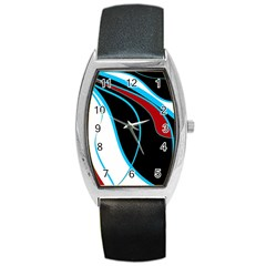 Blue, Red, Black And White Design Barrel Style Metal Watch