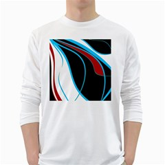 Blue, Red, Black And White Design White Long Sleeve T-Shirts