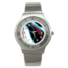 Blue, Red, Black And White Design Stainless Steel Watch