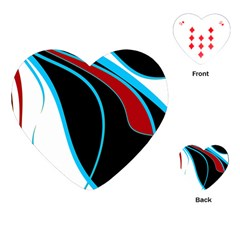 Blue, Red, Black And White Design Playing Cards (Heart)