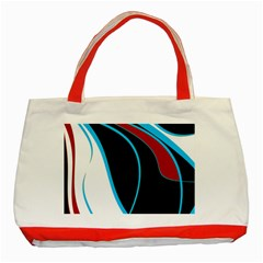 Blue, Red, Black And White Design Classic Tote Bag (Red)