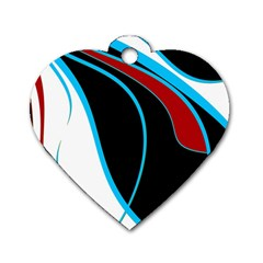 Blue, Red, Black And White Design Dog Tag Heart (One Side)