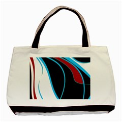 Blue, Red, Black And White Design Basic Tote Bag (Two Sides)
