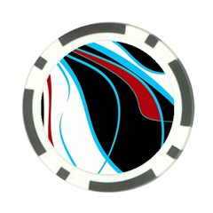 Blue, Red, Black And White Design Poker Chip Card Guards