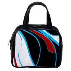 Blue, Red, Black And White Design Classic Handbags (One Side)