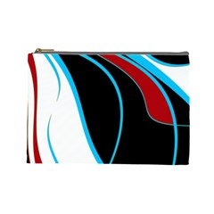 Blue, Red, Black And White Design Cosmetic Bag (Large)