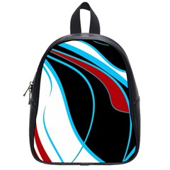 Blue, Red, Black And White Design School Bags (Small)