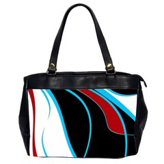 Blue, Red, Black And White Design Office Handbags (2 Sides)