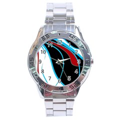Blue, Red, Black And White Design Stainless Steel Analogue Watch
