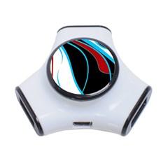 Blue, Red, Black And White Design 3-Port USB Hub