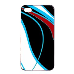 Blue, Red, Black And White Design Apple iPhone 4/4s Seamless Case (Black)