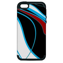 Blue, Red, Black And White Design Apple iPhone 5 Hardshell Case (PC+Silicone)