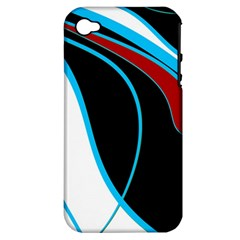 Blue, Red, Black And White Design Apple iPhone 4/4S Hardshell Case (PC+Silicone)