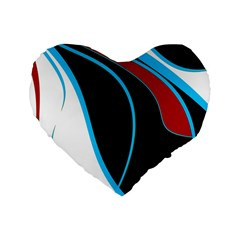 Blue, Red, Black And White Design Standard 16  Premium Heart Shape Cushions