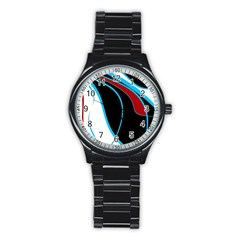 Blue, Red, Black And White Design Stainless Steel Round Watch