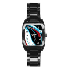 Blue, Red, Black And White Design Stainless Steel Barrel Watch
