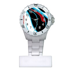 Blue, Red, Black And White Design Plastic Nurses Watch