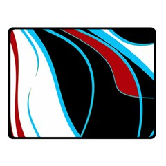 Blue, Red, Black And White Design Double Sided Fleece Blanket (Small)