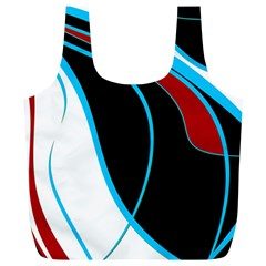 Blue, Red, Black And White Design Full Print Recycle Bags (L)