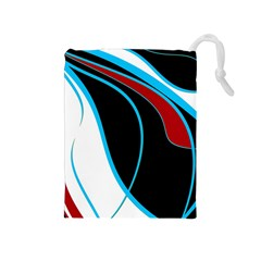 Blue, Red, Black And White Design Drawstring Pouches (medium)