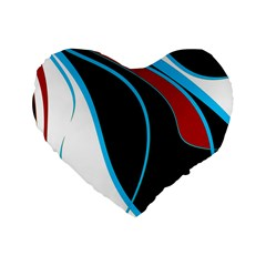 Blue, Red, Black And White Design Standard 16  Premium Flano Heart Shape Cushions