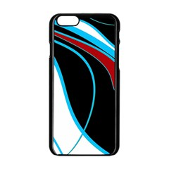 Blue, Red, Black And White Design Apple iPhone 6/6S Black Enamel Case