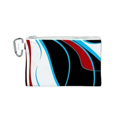 Blue, Red, Black And White Design Canvas Cosmetic Bag (S)
